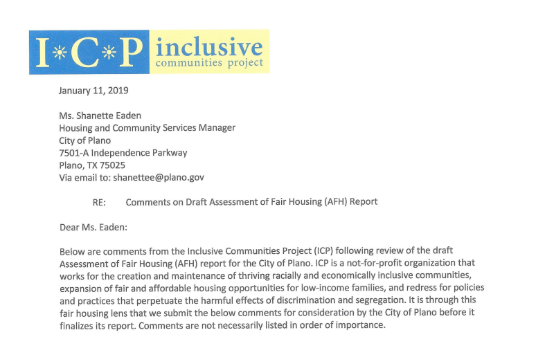 Header and first paragraph of the letter from the Inclusive Communities Project to the City of Plano